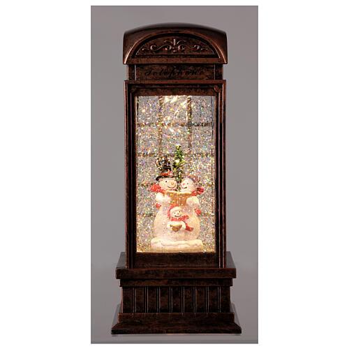 Telephone booth snow globe snowmen family LEDs 25x10x10 cm 2