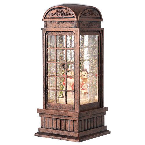 Telephone booth snow globe snowmen family LEDs 25x10x10 cm 4