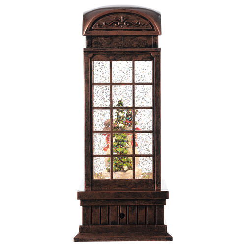 Telephone booth snow globe snowmen family LEDs 25x10x10 cm 5