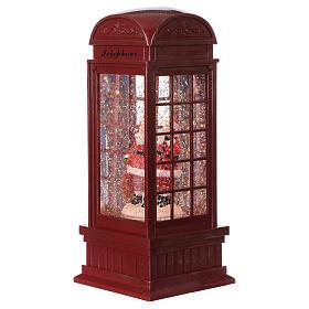 Red phone booth Santa Claus snow globe 25x10x10 cm s1