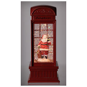 Red phone booth Santa Claus snow globe 25x10x10 cm s2
