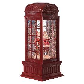 Red phone booth Santa Claus snow globe 25x10x10 cm s3