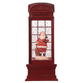 Red phone booth Santa Claus snow globe 25x10x10 cm s4