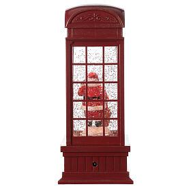 Red phone booth Santa Claus snow globe 25x10x10 cm s5