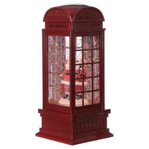Red phone booth Santa Claus snow globe 25x10x10 cm 1