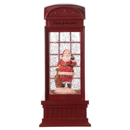 Red phone booth Santa Claus snow globe 25x10x10 cm 4