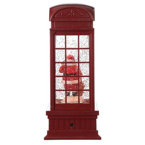 Red phone booth Santa Claus snow globe 25x10x10 cm 5