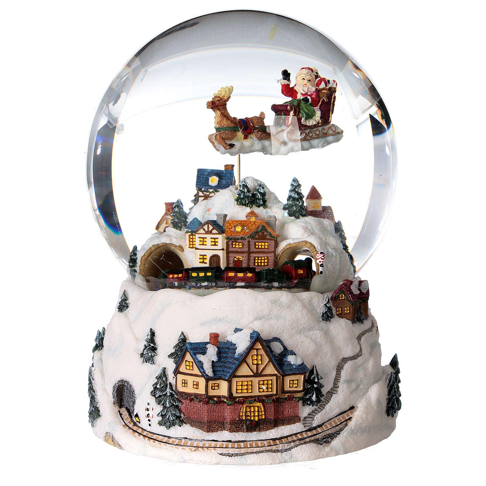 Sfera di vetro neve glitter villaggio natalizio 12 cm 3