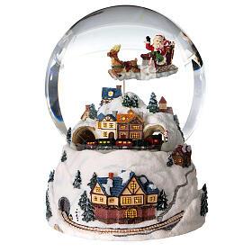 Sfera di vetro neve glitter villaggio natalizio 12 cm s1