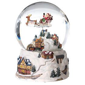 Sfera di vetro neve glitter villaggio natalizio 12 cm s2