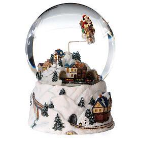 Sfera di vetro neve glitter villaggio natalizio 12 cm s3