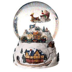 Sfera di vetro neve glitter villaggio natalizio 12 cm s4