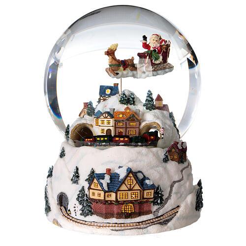 Sfera di vetro neve glitter villaggio natalizio 12 cm 1