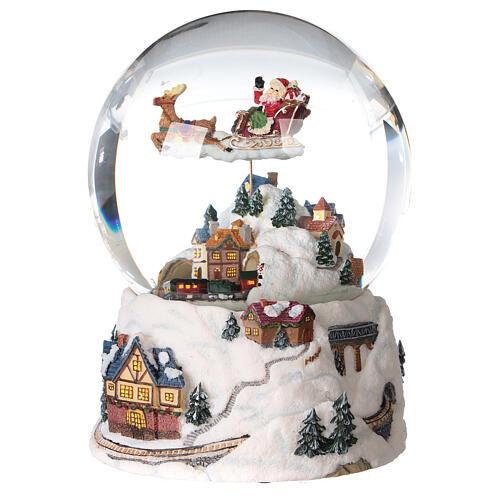 Sfera di vetro neve glitter villaggio natalizio 12 cm 2