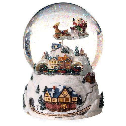 Sfera di vetro neve glitter villaggio natalizio 12 cm 4