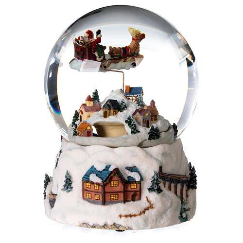 Sfera di vetro neve glitter villaggio natalizio 12 cm 5