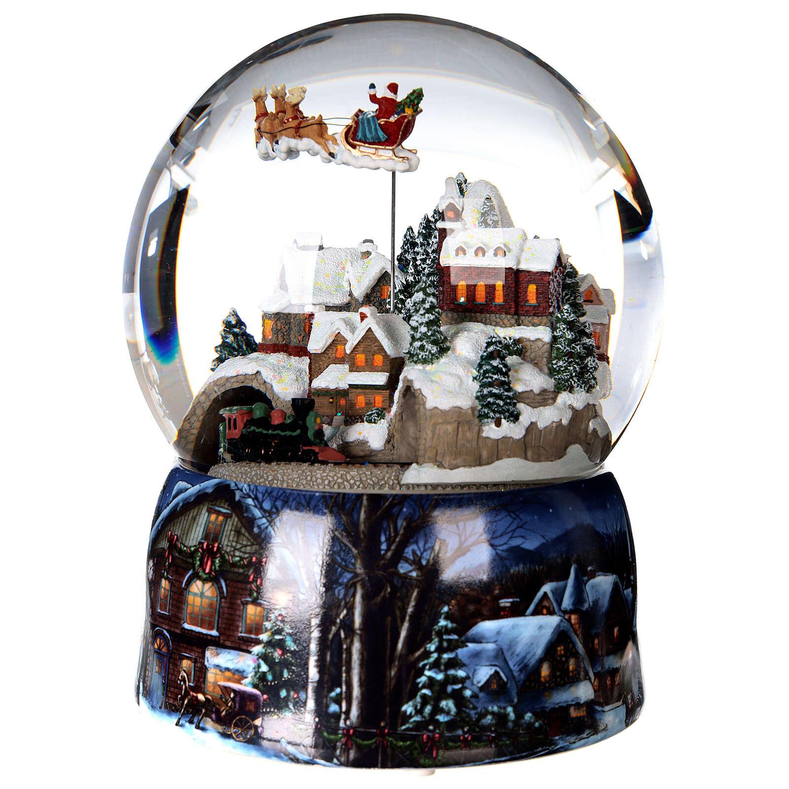 Sfera di vetro neve glitter villaggio con treno 15 cm 3