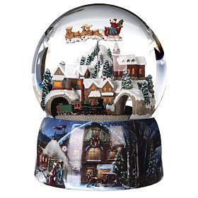 Sfera di vetro neve glitter villaggio con treno 15 cm s1
