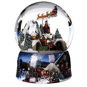 Sfera di vetro neve glitter villaggio con treno 15 cm s3