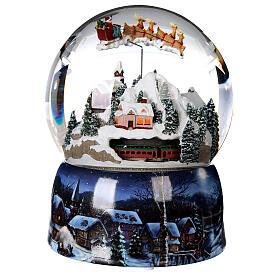Sfera di vetro neve glitter villaggio con treno 15 cm s4