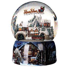 Sfera di vetro neve glitter villaggio con treno 15 cm s5