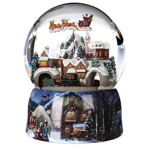 Sfera di vetro neve glitter villaggio con treno 15 cm 1