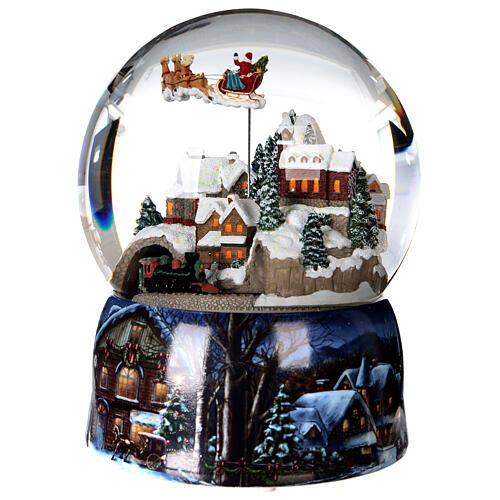 Sfera di vetro neve glitter villaggio con treno 15 cm 2