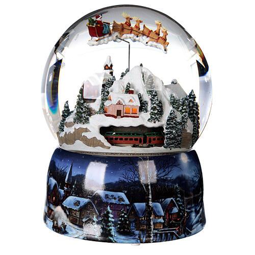 Sfera di vetro neve glitter villaggio con treno 15 cm 4