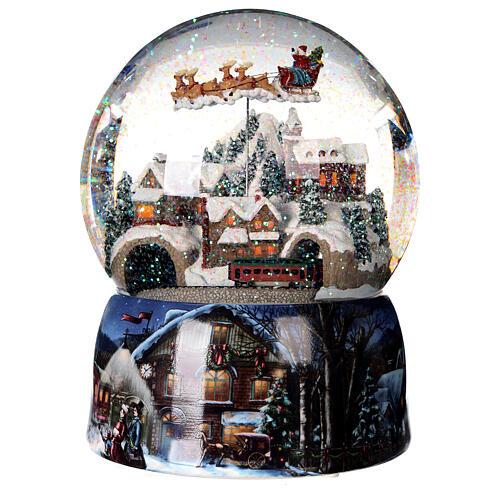 Sfera di vetro neve glitter villaggio con treno 15 cm 5