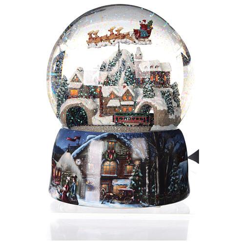 Sfera di vetro neve glitter villaggio con treno 15 cm 6