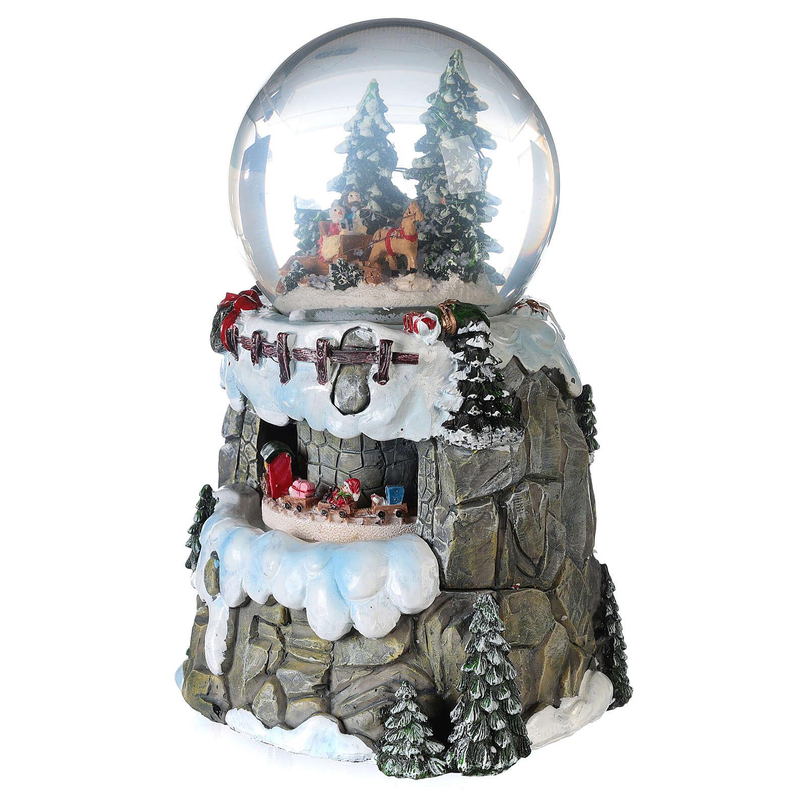 Sfera di vetro neve slittino e treno 13 cm 3