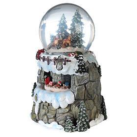 Sfera di vetro neve slittino e treno 13 cm s4