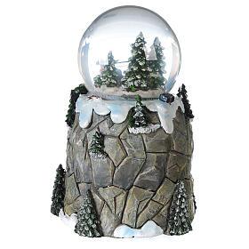 Sfera di vetro neve slittino e treno 13 cm s6