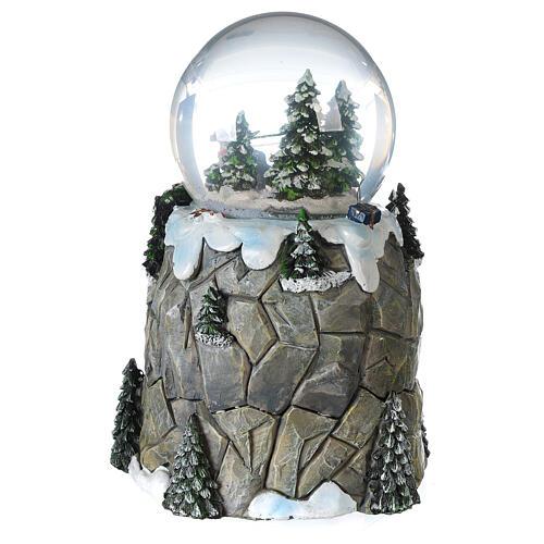 Sfera di vetro neve slittino e treno 13 cm 6