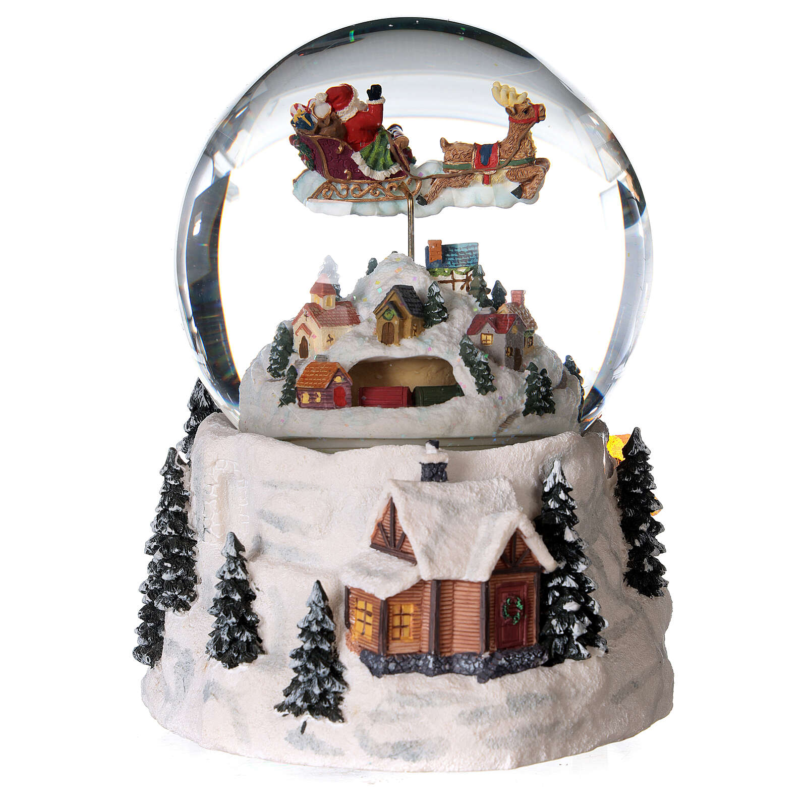 Glass ball snow glitter Christmas village with river 3