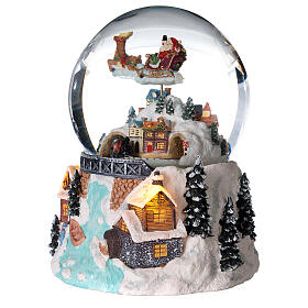 Glass ball snow glitter Christmas village with river s2
