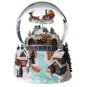 Glass ball snow glitter Christmas village with river s4