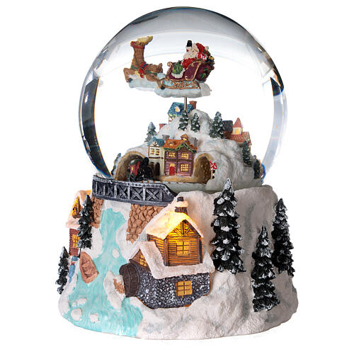 Glass ball snow glitter Christmas village with river 2