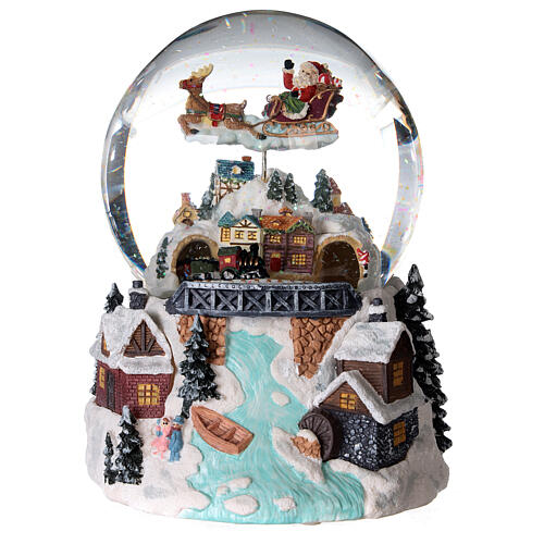 Glass ball snow glitter Christmas village with river 4