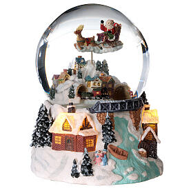 Sfera di vetro neve glitter villaggio natalizio con fiume 12 cm s3