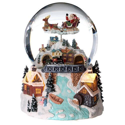 Sfera di vetro neve glitter villaggio natalizio con fiume 12 cm 1