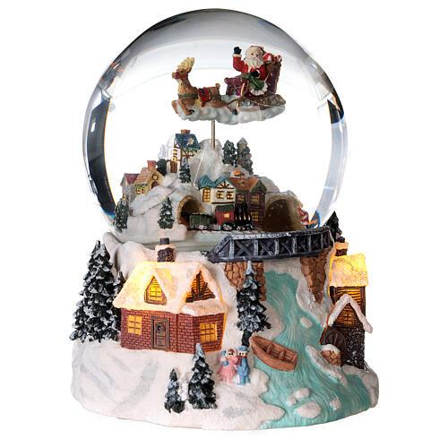 Sfera di vetro neve glitter villaggio natalizio con fiume 12 cm 3