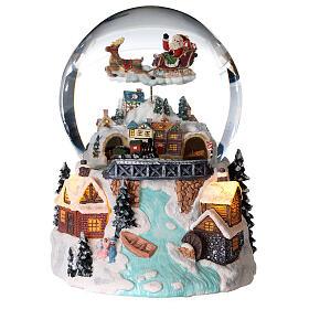 Kula ze szkła śnieg brokat miasteczko bożonarodzeniowe z rzeką 12 cm s1