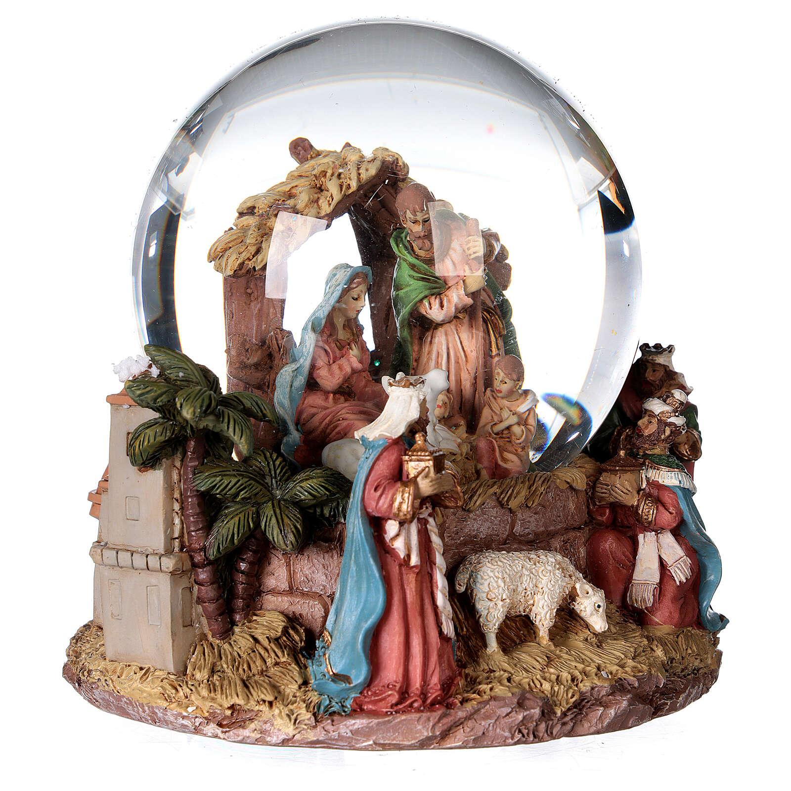 Sfera di vetro neve glitter natività e magi 12 cm 3