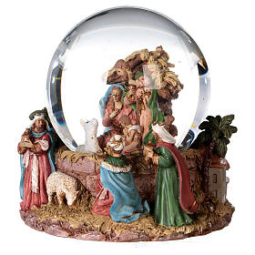 Sfera di vetro neve glitter natività e magi 12 cm s2