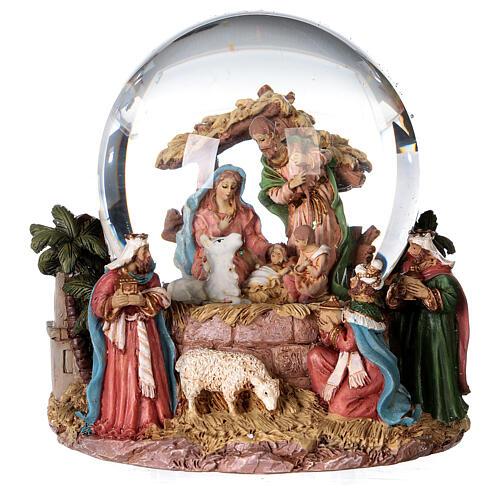 Sfera di vetro neve glitter natività e magi 12 cm 1