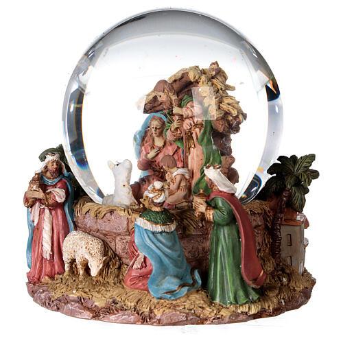 Sfera di vetro neve glitter natività e magi 12 cm 2