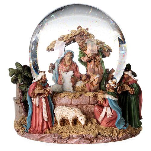 Sfera di vetro neve glitter natività e magi 12 cm 4