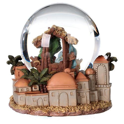 Sfera di vetro neve glitter natività e magi 12 cm 5