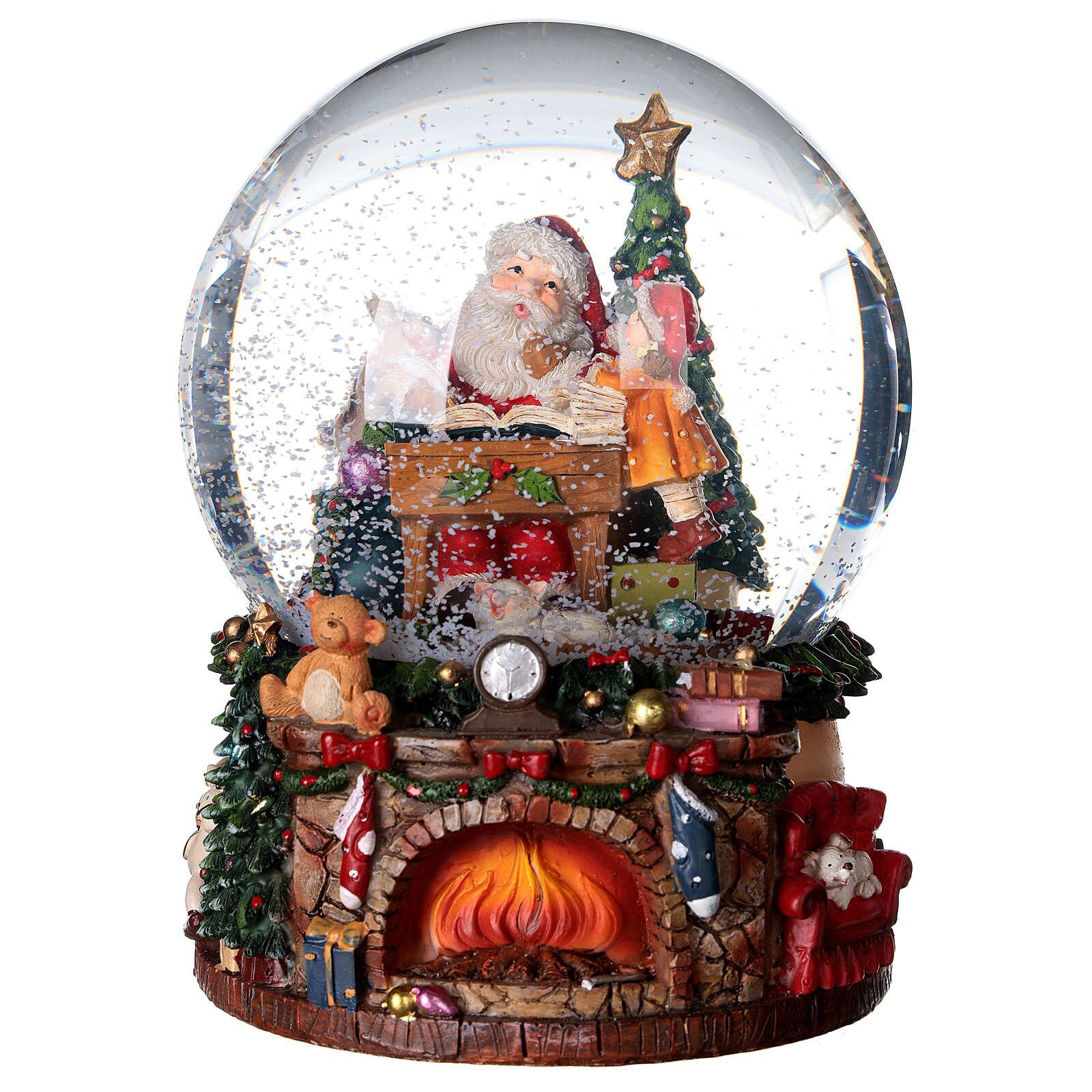 Sfera di vetro neve con Babbo Natale e giocattoli 15 cm 3